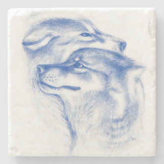 Snuggling Alphawölfe blau Steinuntersetzer
