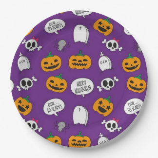So beängstigendes glückliches Halloween Pappteller