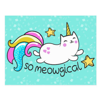 So Meowgical niedliche Unicorn Postkarte