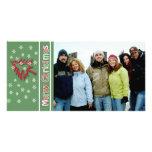 So niedliche frohe Weihnacht-rote Kiefern-Weiß-Sch Photokarten