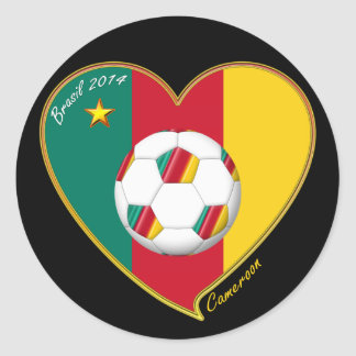 "Soccer ""CAMEROON"" FOOTBALL Team, Fußball von Kamer Runder Aufkleber"