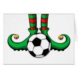 Soccer or Football Christmas Elf Feet Greeting Card