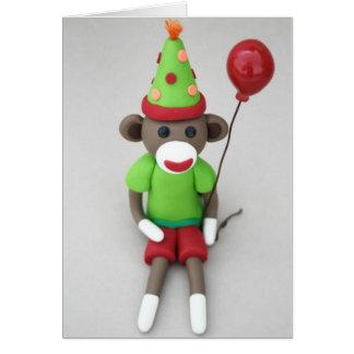 Socken-Affe-alles Gute zum Geburtstag mit rotem Karte
