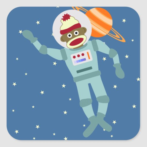Socken-Affe-Astronaut Quadrataufkleber