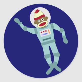 Socken-Affe-Astronaut Runder Sticker