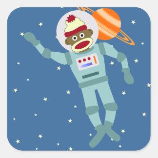 Socken-Affe-Astronaut Quadratischer Aufkleber