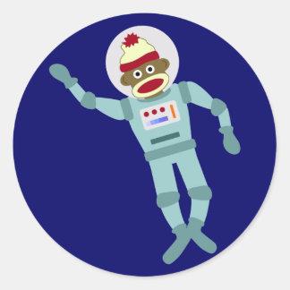 Socken-Affe-Astronaut Runder Aufkleber
