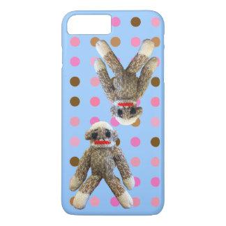 Socken-Affe auf den Tupfen blau iPhone 8 Plus/7 Plus Hülle