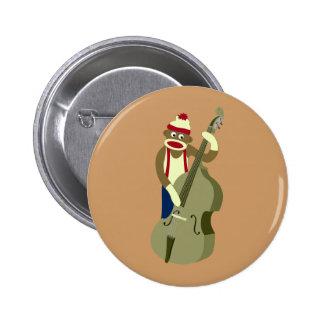 Socken-Affe-aufrechter Bass-Spieler Button