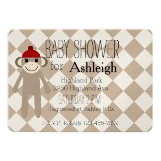 Socken-Affe-Babyparty 12,7 X 17,8 Cm Einladungskarte