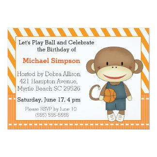 Socken-Affe-Basketball-Geburtstags-Einladungen 12,7 X 17,8 Cm Einladungskarte