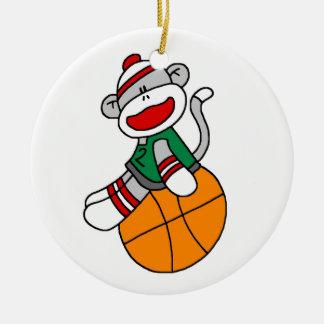 Socken-Affe-Basketball-T - Shirts und Geschenke Keramik Ornament