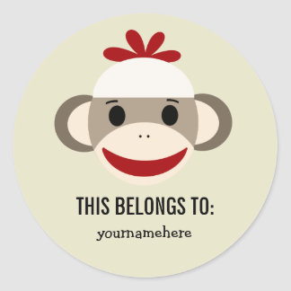 Socken-Affe DIESES GEHÖRT Aufklebern Runder Aufkleber
