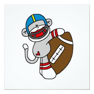 Socken-Affe-Fußball-T-Shirts und Geschenke Quadratische 13,3 Cm Einladungskarte