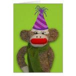 Socken-Affe-Geburtstags-Hut Grußkarten