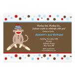 Socken-Affe-Geburtstags-Party Personalisierte Einladungen