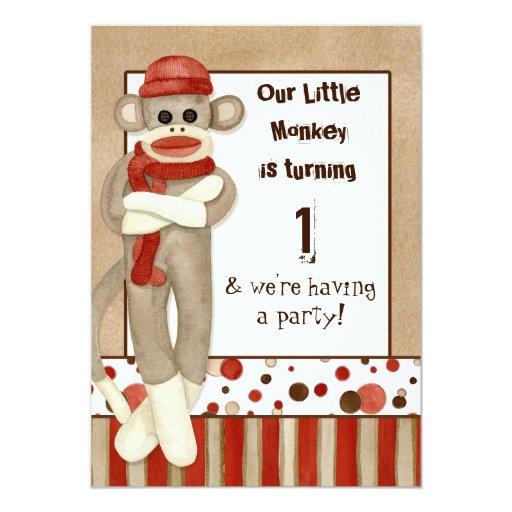 Socken-Affe, Geburtstags-Party Einladung 12,7 X 17,8 Cm Einladungskarte