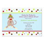 Socken-Affe-Geburtstags-Party Einladungs-Kinder Ankündigung