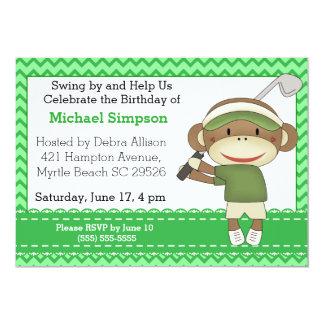Socken-Affe-Golf-Geburtstags-Einladungen 12,7 X 17,8 Cm Einladungskarte