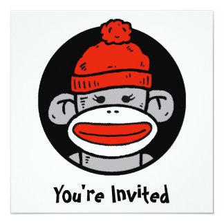 Socken-Affe-Karte/Einladung Quadratische 13,3 Cm Einladungskarte