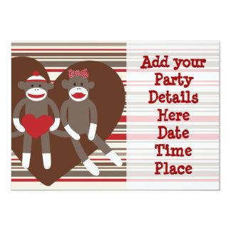 Socken-Affe-kundenspezifische Party 12,7 X 17,8 Cm Einladungskarte