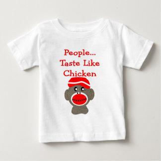 """Socken-Affe """"LEUTE-GESCHMACK MÖGEN HUHN """" Baby T-shirt"""
