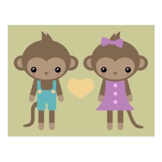 Socken-Affe-Liebe Postkarte