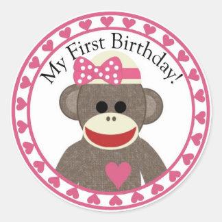 Socken-Affe-Mädchen-Geburtstags-Aufkleber Runder Aufkleber
