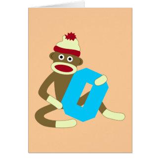 Socken-Affe-Monogramm-Junge O Karte
