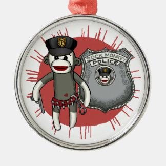 Socken-Affe-Polizei-erstklassige runde Verzierung Silbernes Ornament