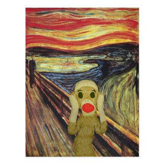 Socken-Affe-Schreipostkarte Postkarte