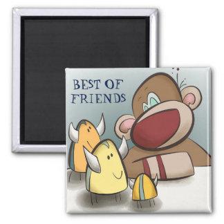 Socken-Affe und sein beste Freund-Magnet-Quadrat Quadratischer Magnet