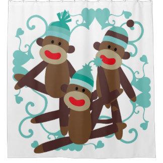 Socken-Affen mit blauen Herzen Duschvorhang