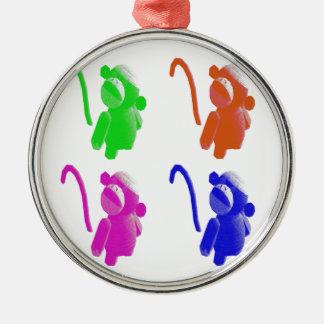 Socken-Affeverzierung Silbernes Ornament
