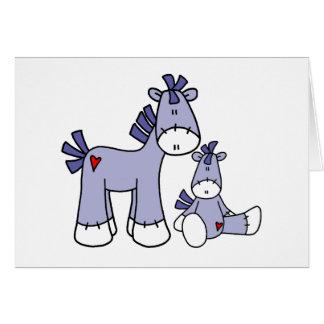 Socken-Ponys blau Karte