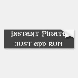Sofortiger Pirat - addieren Sie einfach Rum Autoaufkleber