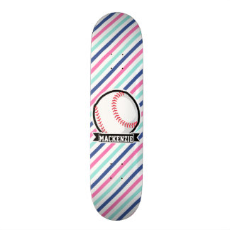Softball; Blaue, rosa u. weiße Streifen, Sport Skateboard Brett