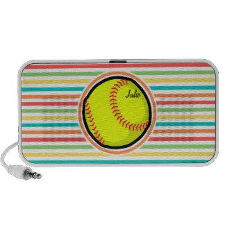 Softball Helle Regenbogen-Streifen Notebook Lautsprecher