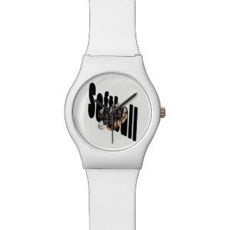 Softball-Logo und Handschuhe, Armbanduhr