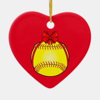 Softball mit einem Bogen am Weihnachten Keramik Ornament