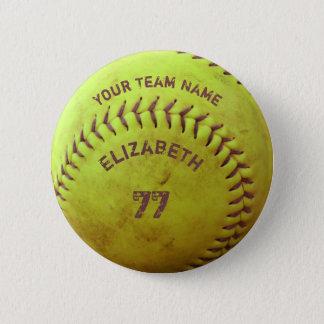 Softball-schmutziger Namensteam-Zahl-Ball-Knopf Runder Button 5,7 Cm
