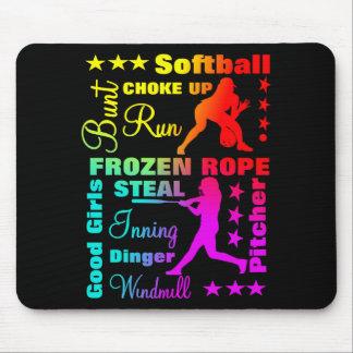 Softball trägt Ausdruck-Regenbogen-coole Mauspads