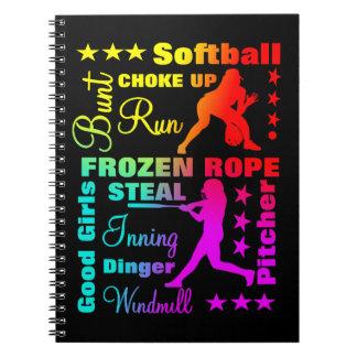 Softball trägt Ausdruck-Regenbogen-coole Notizblock