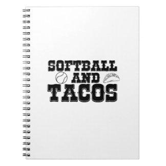 Softball und Tacos-lustiges beunruhigtes lustiges Notizblock
