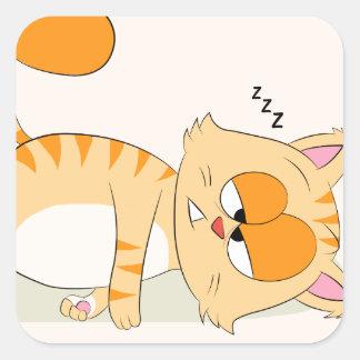 Sogar Katze hasst Montag Quadratischer Aufkleber