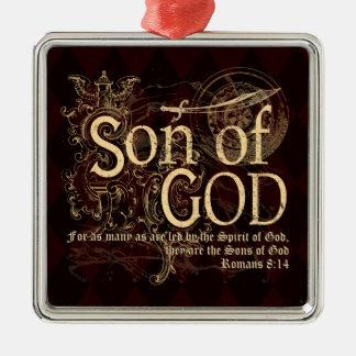 Sohn des Gottes, Römer-8:14 christlich Quadratisches Silberfarbenes Ornament