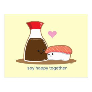 Sojabohnenöl glücklich zusammen postkarte