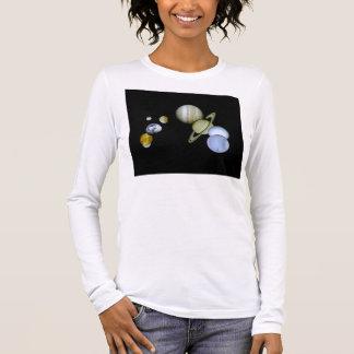 Solarsystems-Damen-lange Hülsen-angepasster T - Langarm T-Shirt