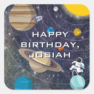 Solarsystems-Geburtstags-Party, Quadrat Quadratischer Aufkleber