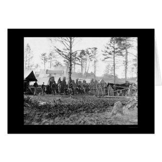 Soldaten an einem Luftschutzbunker am Fort Burnham Karte